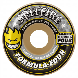 SPITFIRE WHEELS 52 MM F4 99D CONICAL YELLOW PRINT