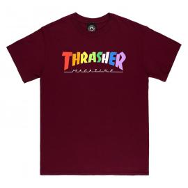 THRASHER T-SHIRT RAINBOW MAG MAROON