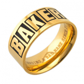 BAKER BAGUE BRAND LOGO RING GOLD