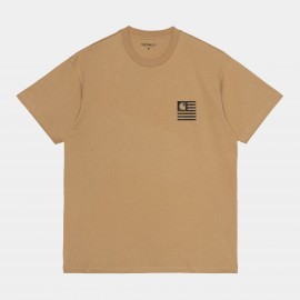 CARHARTT S/S  FADE STATE T-SHIRT 100 % ORGANIC COTON DUSTY H BROWN / BLACK