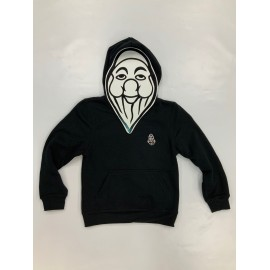 PISOLO SWEAT CAPUCHE JUNIOR NOIR (LOGO BLANC)