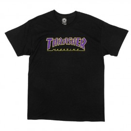 THRASHER T-SHIRT OUTLINED BLACK PURPLE