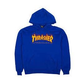 THRASHER SWEAT FLAME HOOD ROYAL BLUE