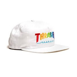 THRASHER CAP RAINBOW MAG SNAPBACK WHITE